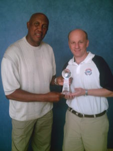 Ferguson Jenkins 2007 Continental Baseball League championship trophy Ron Baron 3