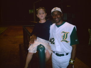Tom Goodwin with Lewisville Lizards fan
