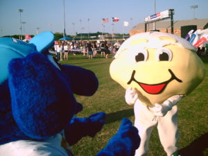 Thunder Dog with mascot at McKinney Ballfields